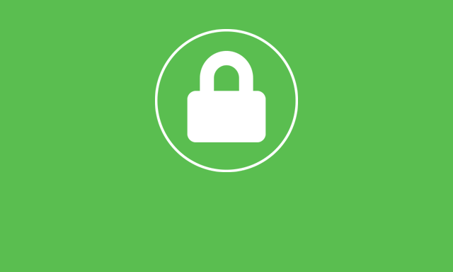 white padlock on green background